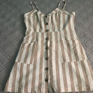Lulus white and tan striped dress